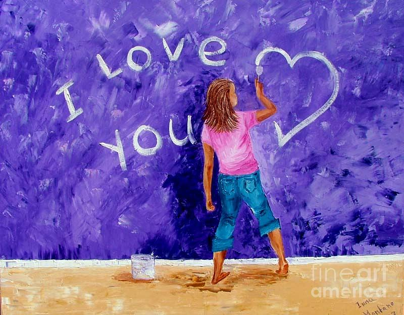 Girl Painting - I Love You by Inna Montano