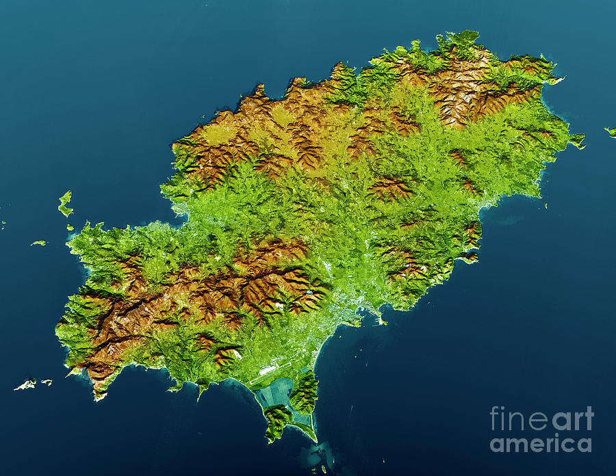 Ibiza Island Topographic Map 3d View Color Digital Art By Frank
