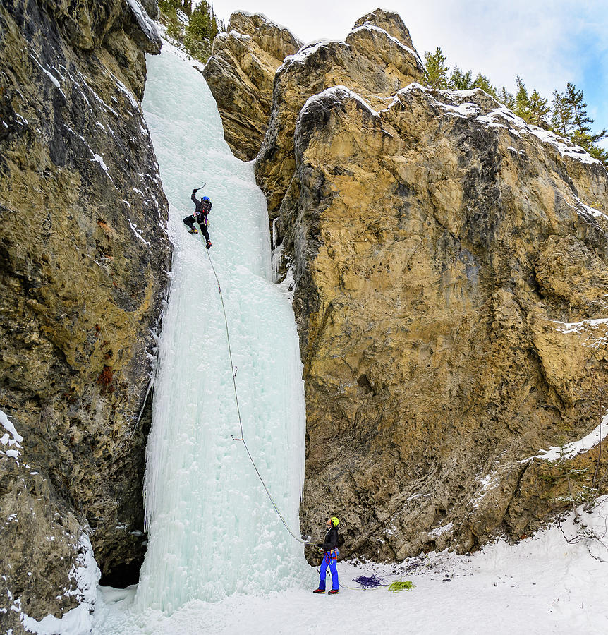 Canada Photograph - Ice Climbers On A Route Called Professor Falls Rated Wi4 In Banf by Elijah Weber