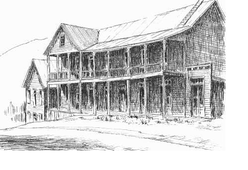 Ghost Town Drawing - Idaho Hotel Silver City Ghost Town Idaho by Kevin Heaney