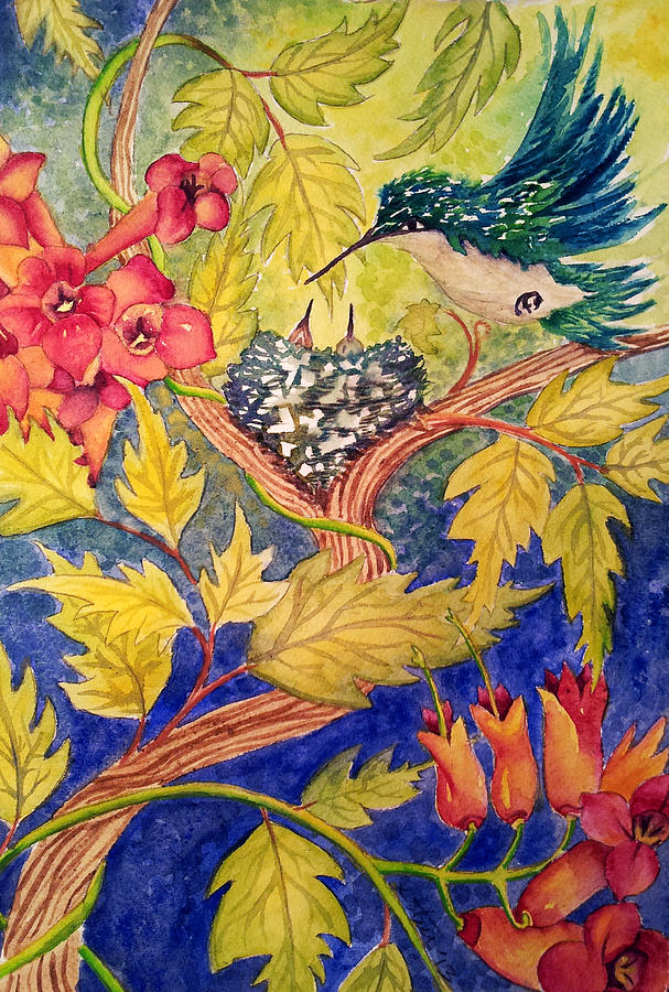 Garden Painting - If I Paint It They Will Nest by Kathy Sturr