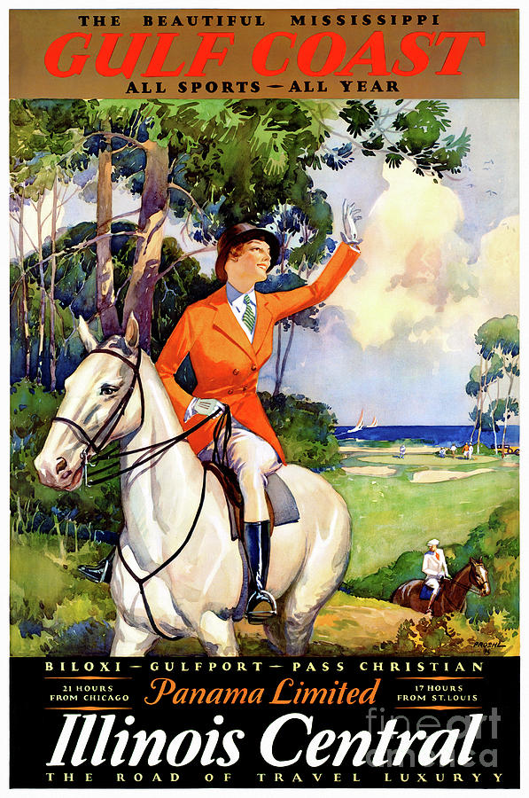 Usa Mixed Media - Illinois Mississippi Restored Vintage Poster by Carsten Reisinger