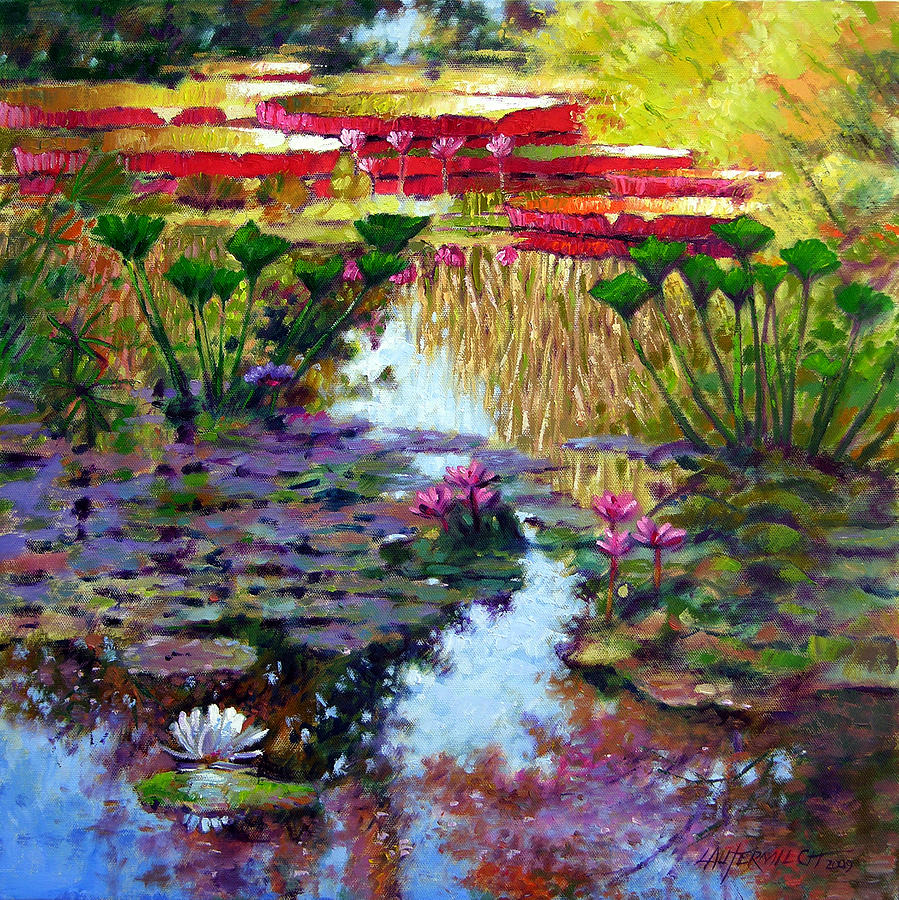 Garden Pond Painting - Impressions of Summer Colors by John Lautermilch