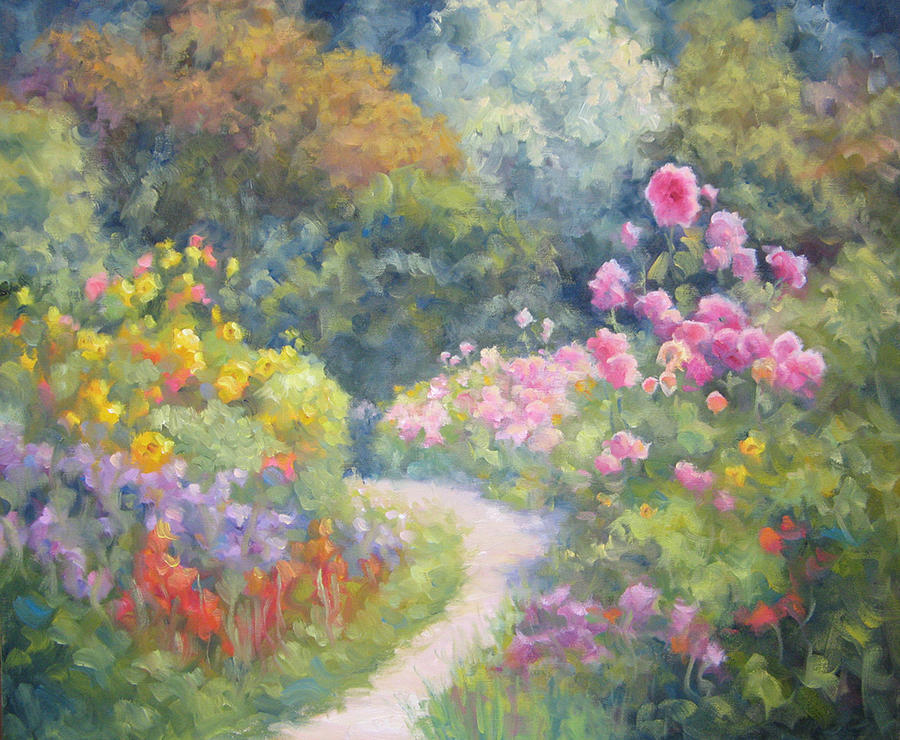 Garden Painting - In Monets Footsteps by Bunny Oliver