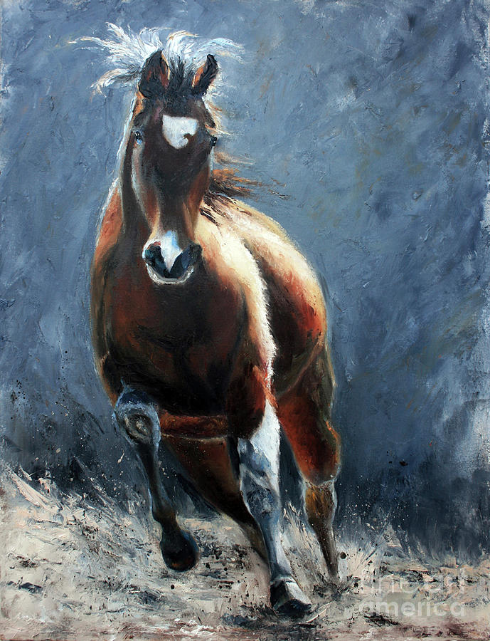 Equestrian Artwork Painting - In Motion by Terri  Meyer