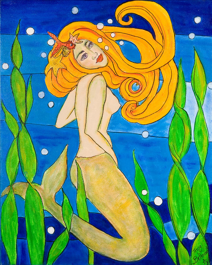 Mermaid Painting - In The Flow by Treza Bettencourt