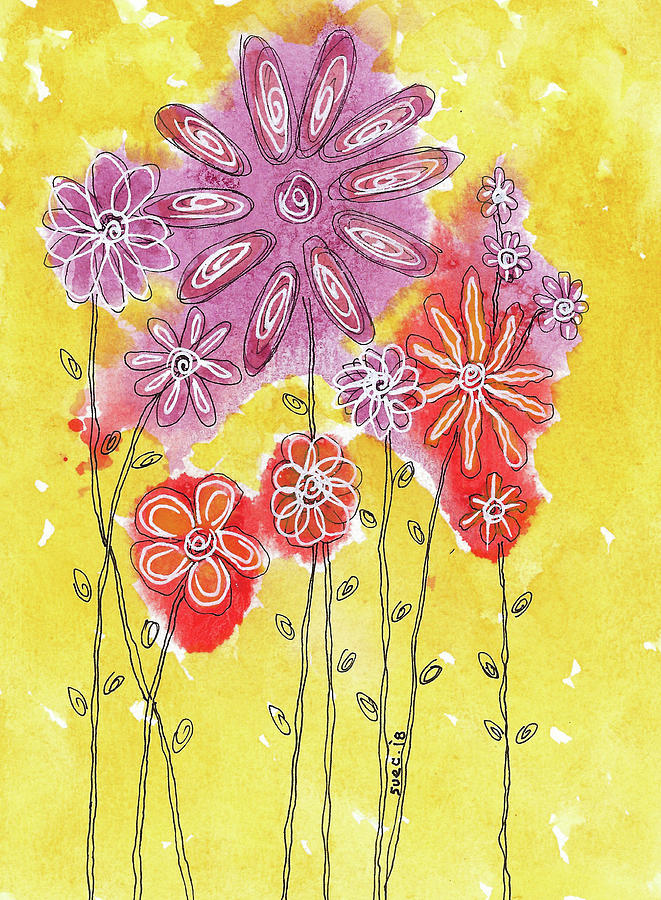 Watercolor And Ink Painting - In The Garden by Susan Campbell