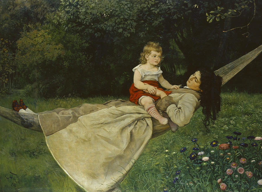 German Painters Painting - In The Hammock by Hans Thoma
