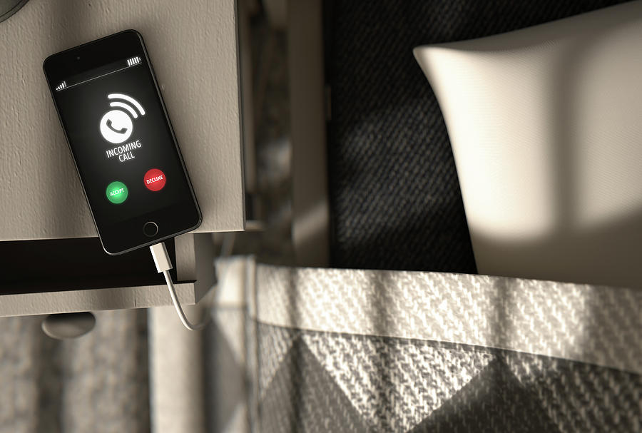 Incoming Digital Art - Incoming Call Cellphone Next To Bed by Allan Swart