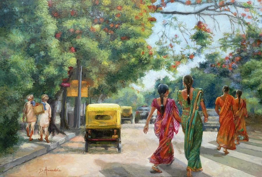 India Street Scene in Flowery Bangalore by Dominique Amendola