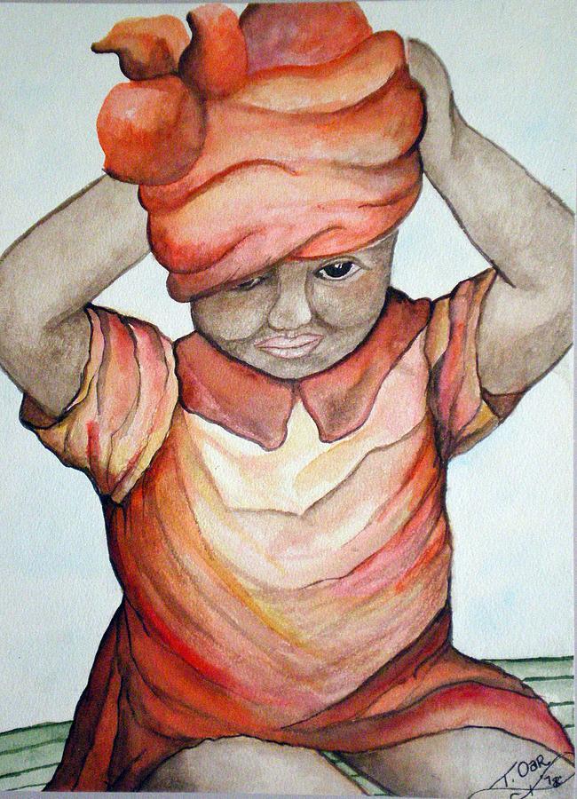 Girl Painting - Indian Girl by Tammera Malicki-Wong
