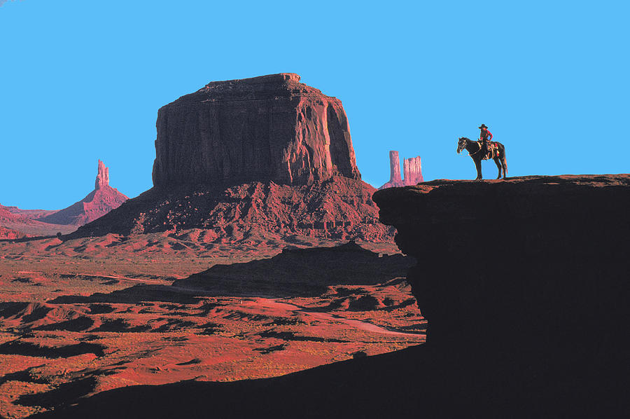 Indian on Horse in Monument Valley by Carl Purcell