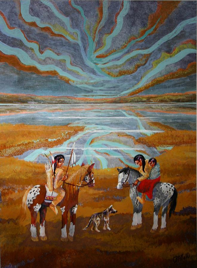 Indian Sunset  Painting by Bob Craig