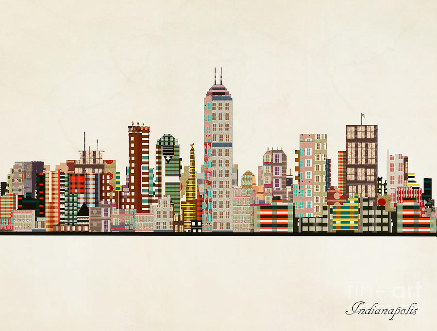 Indianapolis Painting - Indianapolis Indiana Skyline by Bri Buckley