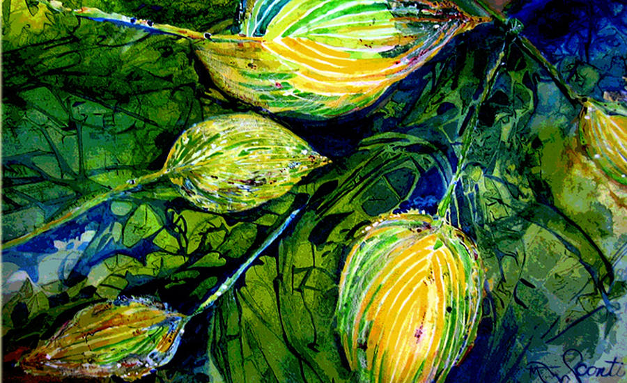 Leaves Painting - Indriel Blue Hosta by Mary Sonya  Conti