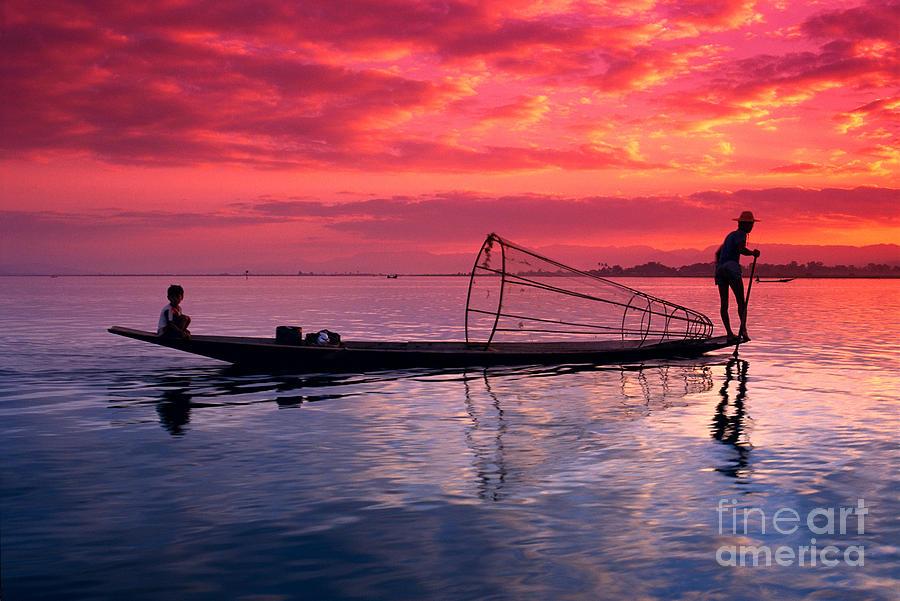 Burma Photograph - Inle Lake Fisherman by Gloria & Richard Maschmeyer - Printscapes