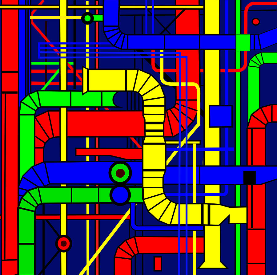 Centre Georges Pompidou Digital Art - Inspired by the Centre Georges Pompidou by Asbjorn Lonvig