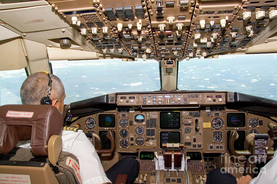 Interior Of A Boing 767 Cockpit