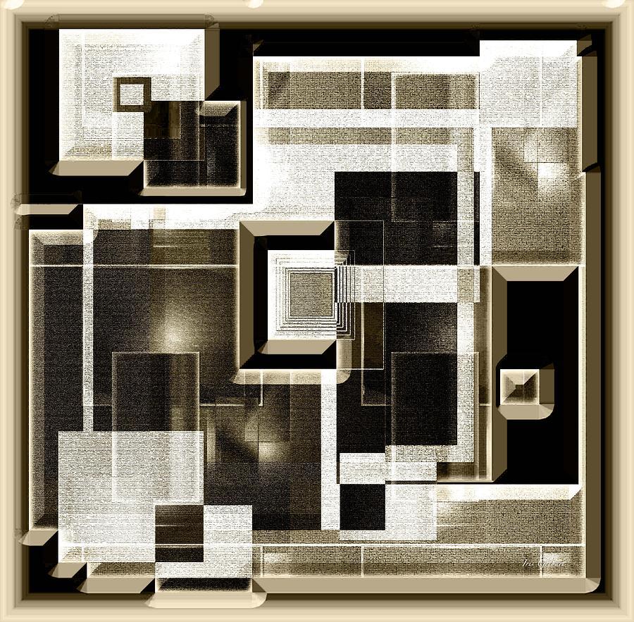 Abstract Digital Art - Interlocking  3 by Iris Gelbart