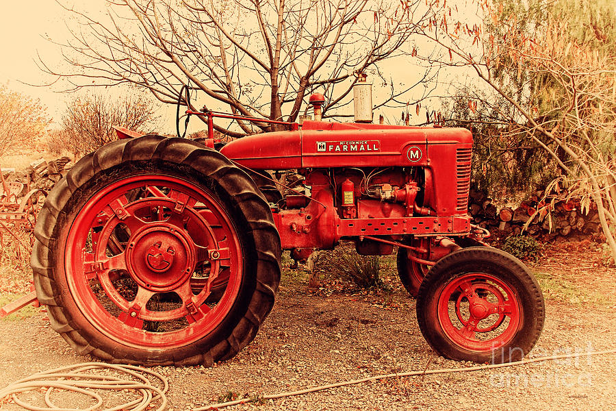 Retro Photograph - International Harvester Mccormick Farmall Farm Tractor . 7d10320 by Wingsdomain Art and Photography
