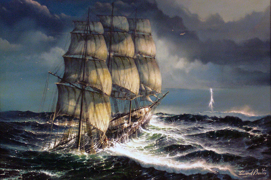 Seascape Painting - Into The Storm by Edward Barton