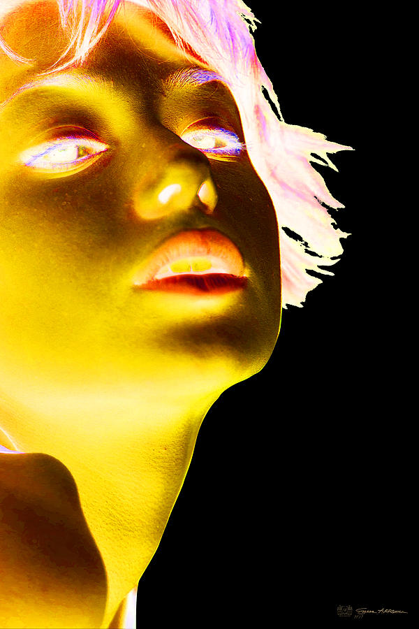 Girl Photograph - Inverted Realities - Yellow  by Serge Averbukh
