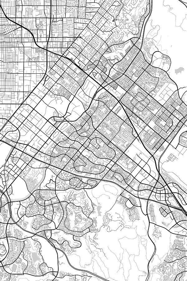 Irvine California Usa Light Map