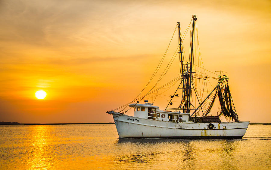 Island Girl Shrimp Boat Photograph by Island Sunrise and Sunsets Pieter Jordaan