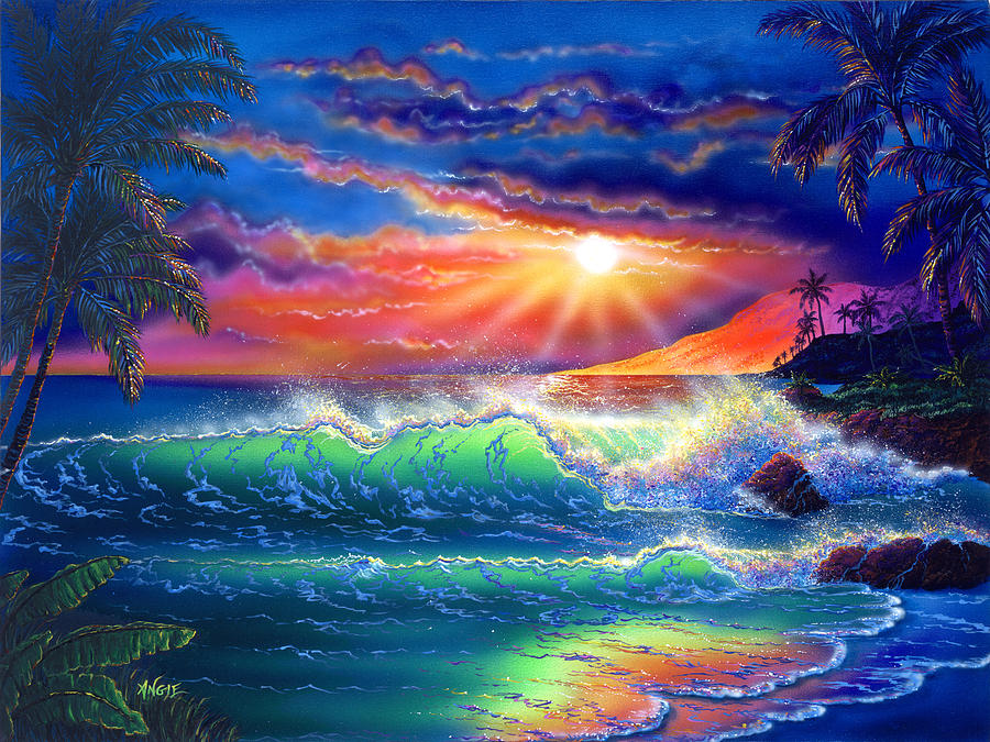 Seascape Painting - Island Paradise by Angie Hamlin