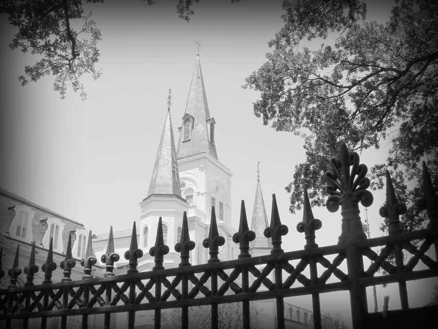 New Orleans Photograph - Jackson Square Fence With St. Louis Cathedral In Background by Toni and Rene Maggio