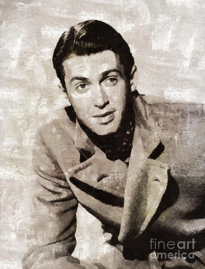 Hollywood Painting - James Stewart Hollywood Actor by Mary Bassett