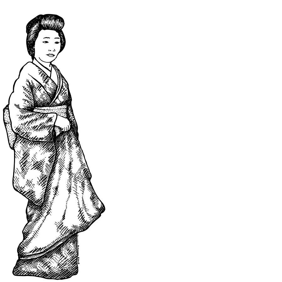 Japanese Geisha Women Drawing by Karl Addison