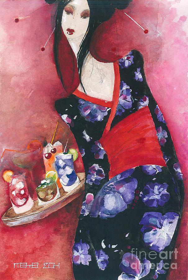 Woman Painting - Japanese Girl by Maya Manolova