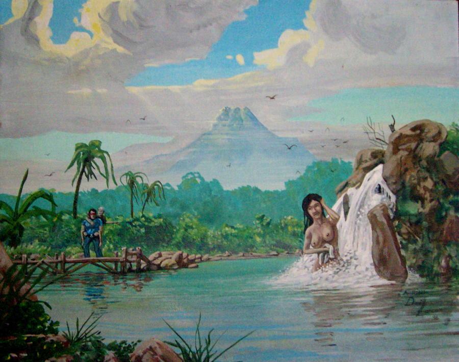 Volcano Painting - Javan Joke by David  Larcom