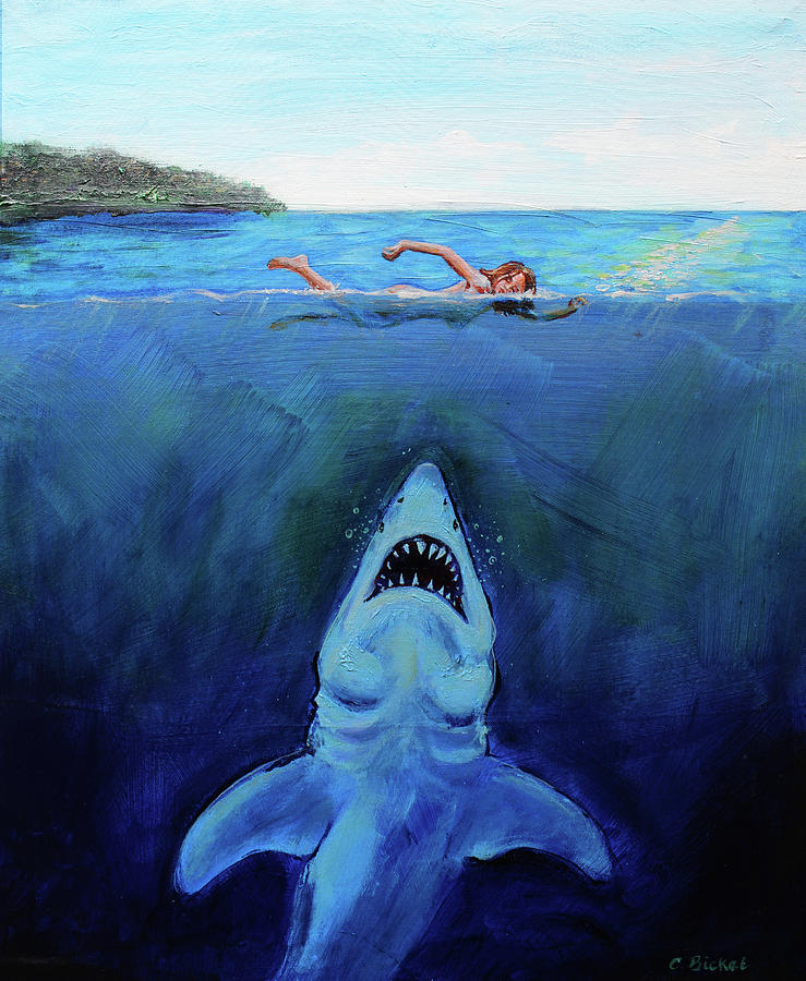 Shark Painting - Jaws  Revisited by Charles Bickel