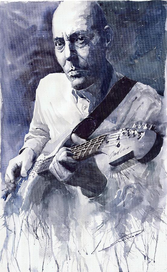 Blues Painting - Jazz Guitarist Rene Trossman  by Yuriy  Shevchuk
