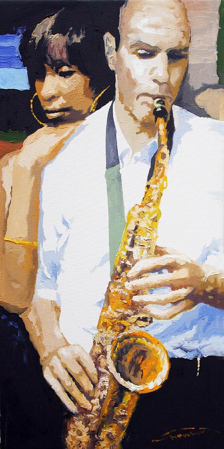 Jazz Painting - Jazz Muza Saxophon by Yuriy  Shevchuk