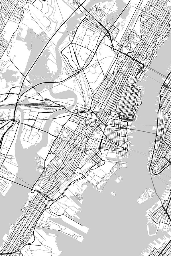 Jersey City New Jersey Usa Light Map by Jurq Studio