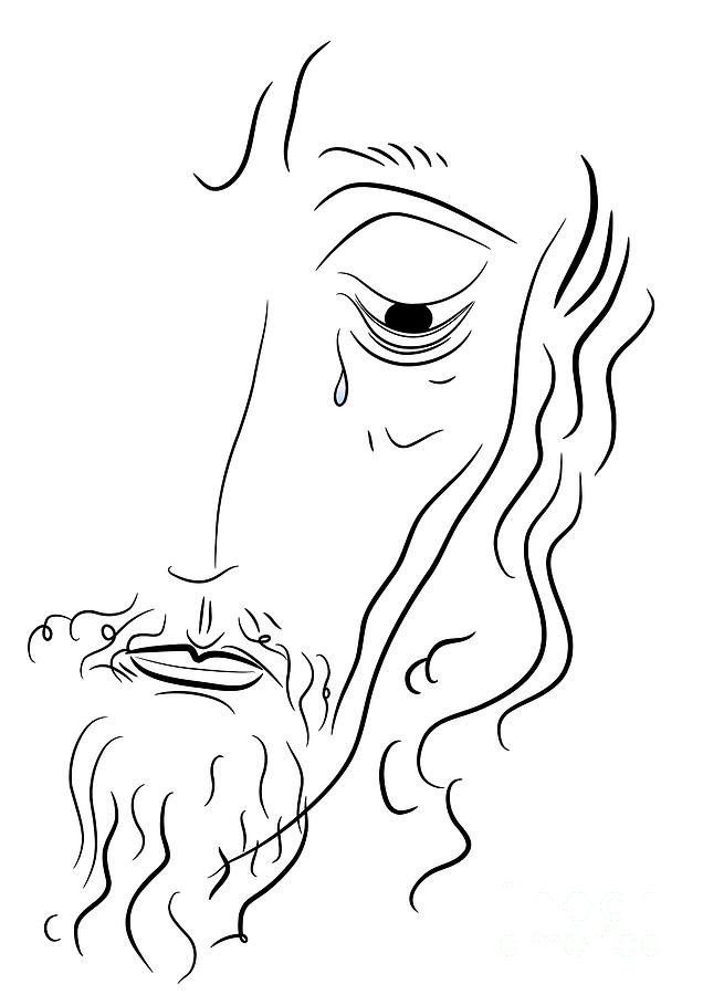 Line Drawing Of Jesus Face : Jesus christ drawing by michal boubin