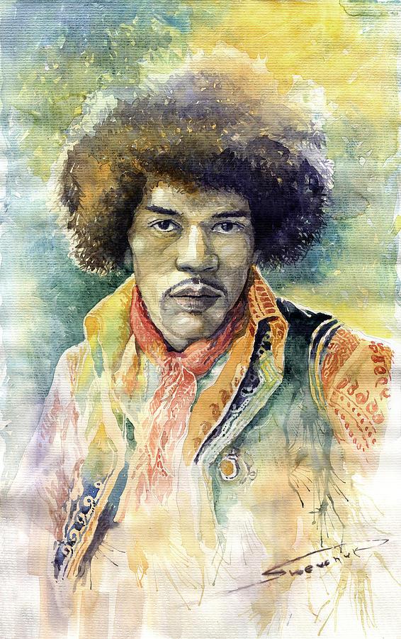 Watercolor Painting - Jimi Hendrix 06 by Yuriy Shevchuk