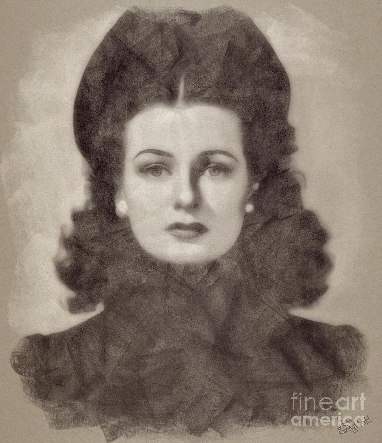 Joan Bennett Vintage Hollywood Actress Drawing
