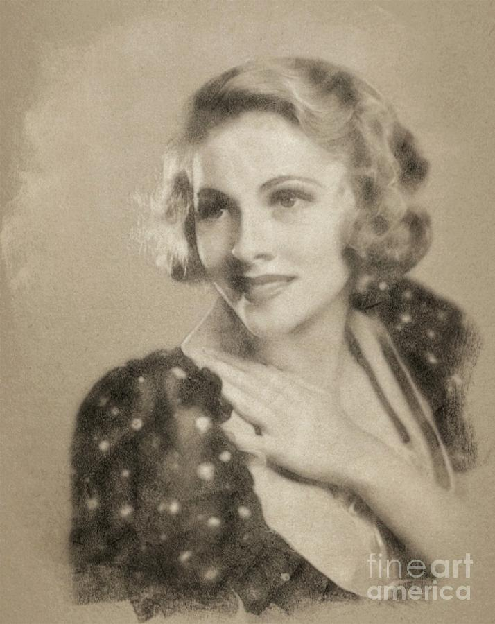 Joan Fontaine Vintage Hollywood Actress Drawing