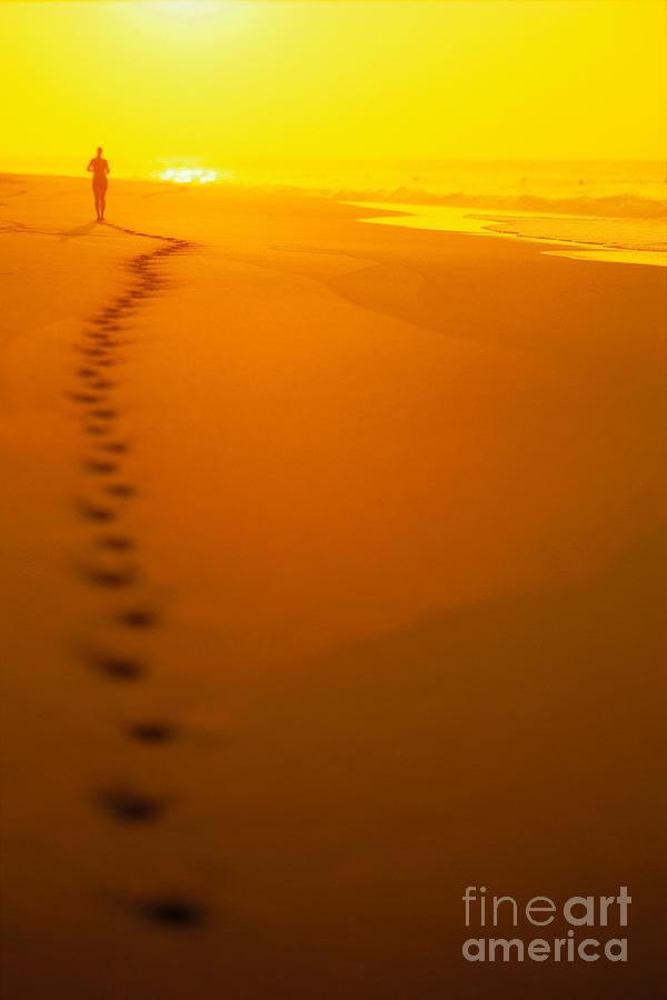 Colorful Photograph - Jogging At Sunset by Dana Edmunds - Printscapes