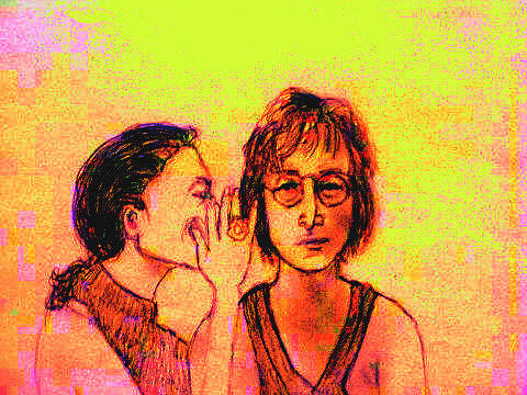 John And Yoko Drawing - John And Yoko  by Linda  Gehrt