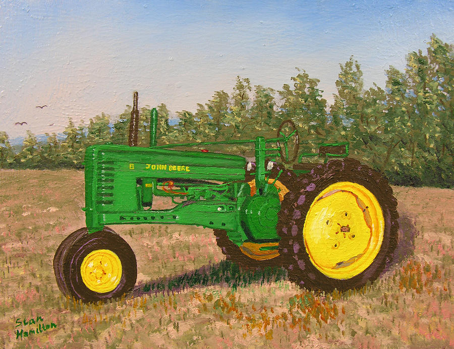 Tractor Painting - John Deere Model B by Stan Hamilton