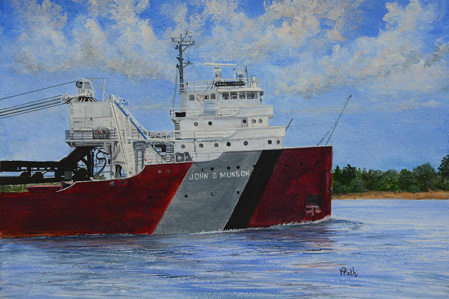 Great Lakes Freighters Painting - John G Munson by Vicky Path