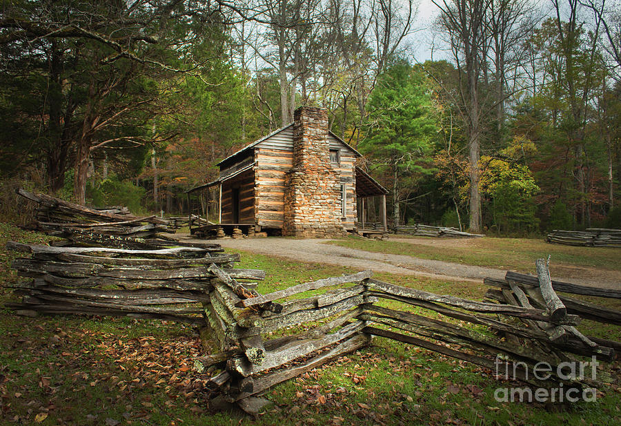 Cabin Photograph - John Oliver Cabin Cades Cove by Lena Auxier