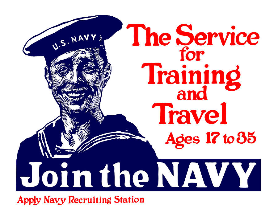 Us Navy Painting - Join The Navy - The service for training and travel by War Is Hell Store
