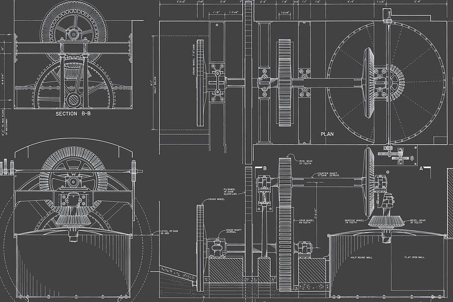 Fairmount Water Works Drawing - Jonval Turbines - Fairmount Waterworks - Philadelphia, Pa - Circa 1812 by Wall Artifact