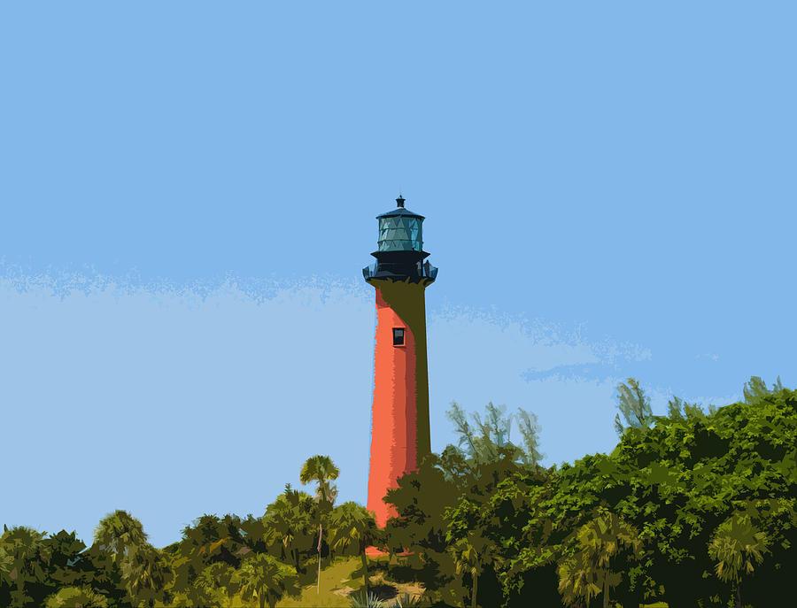 Lighthouse Painting - Jupiter Inlet Light by Allan  Hughes
